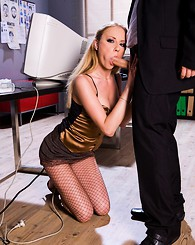 A secretary in fishnet...